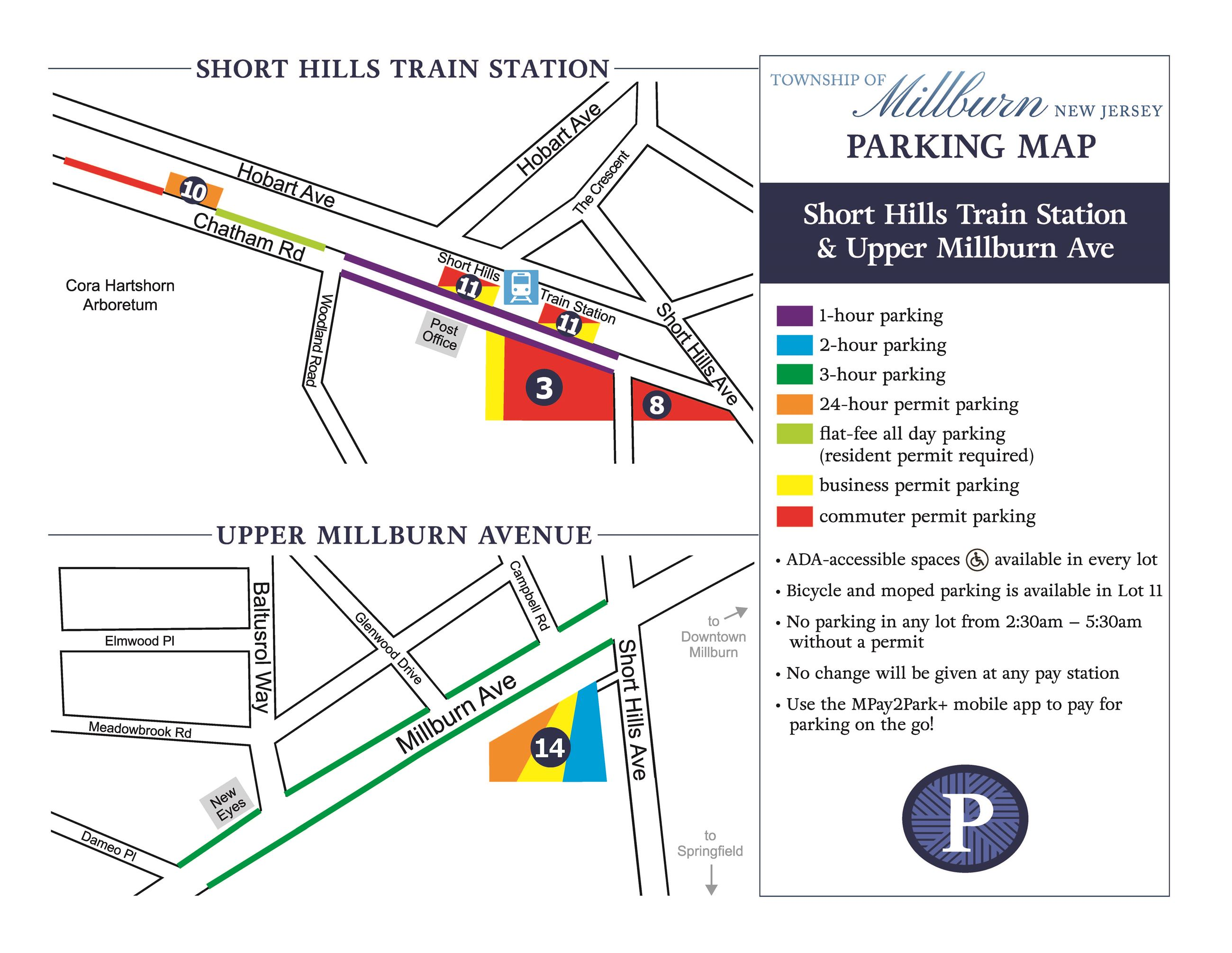 Short Hills Train Station and Upper Millburn Avenue Parking Map