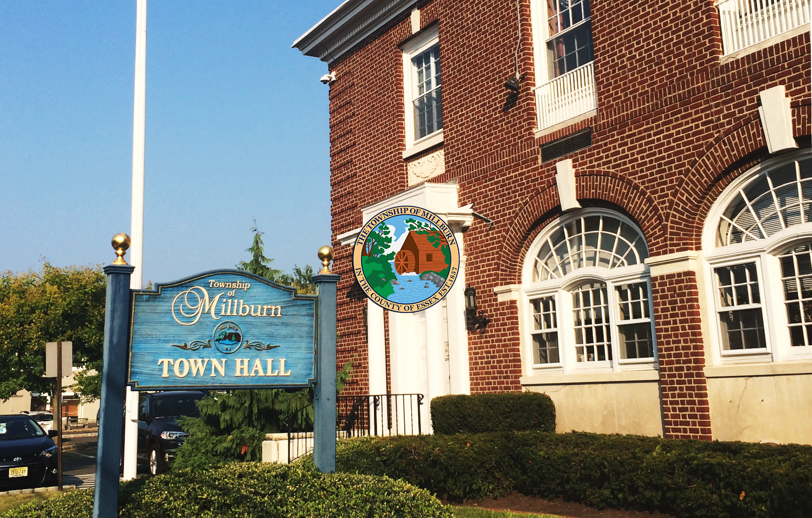 Township of Millburn sign outside of Town Hall building