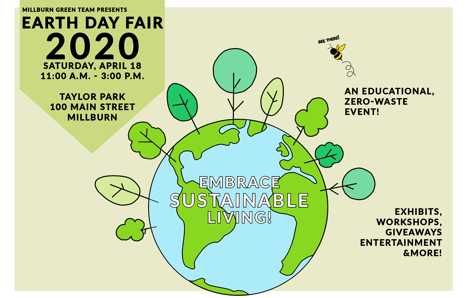 Millburn Green Team Earth Day Fair 2020 poster