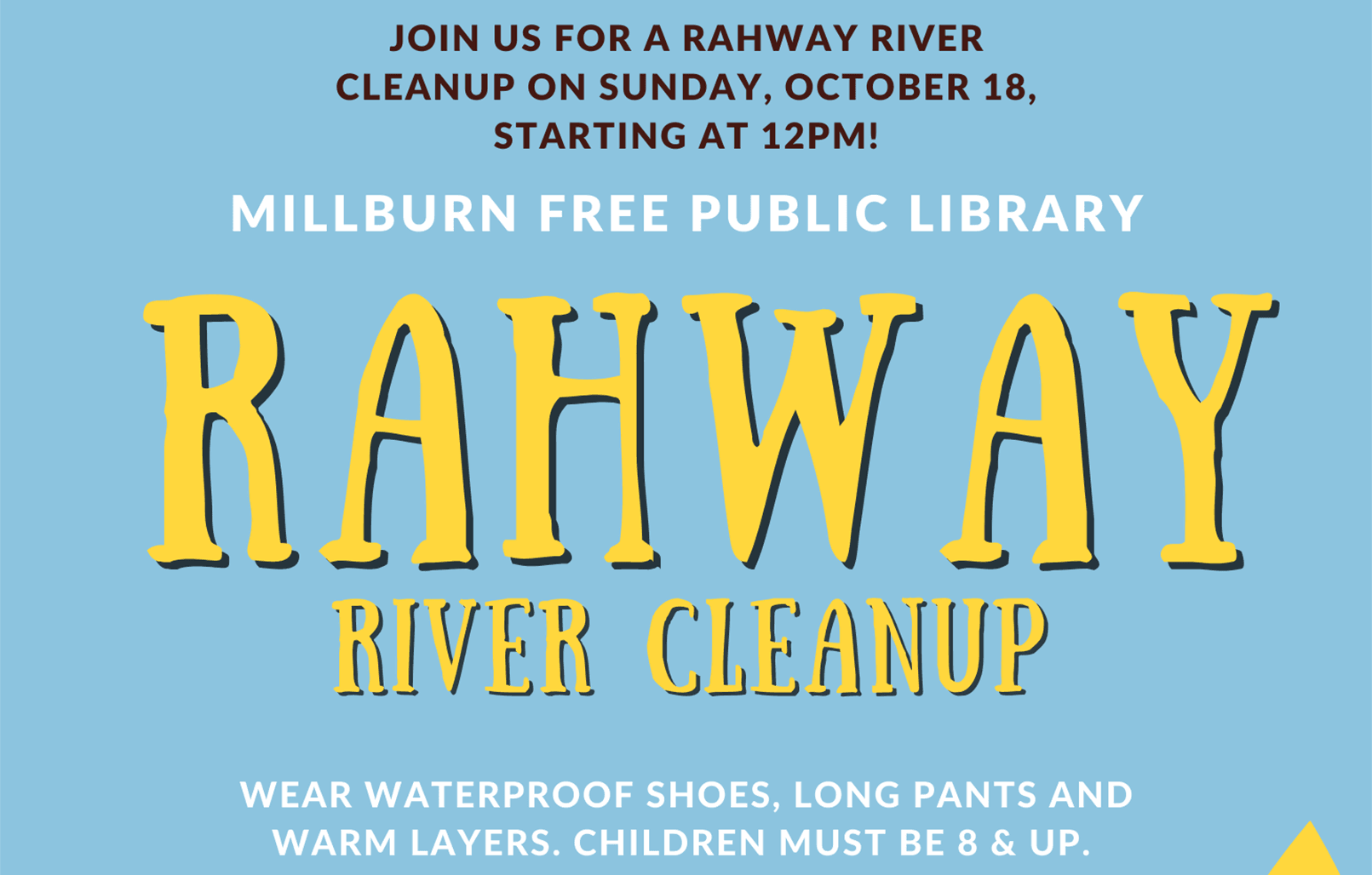 Rahway River Cleanup text in yellow on blue background