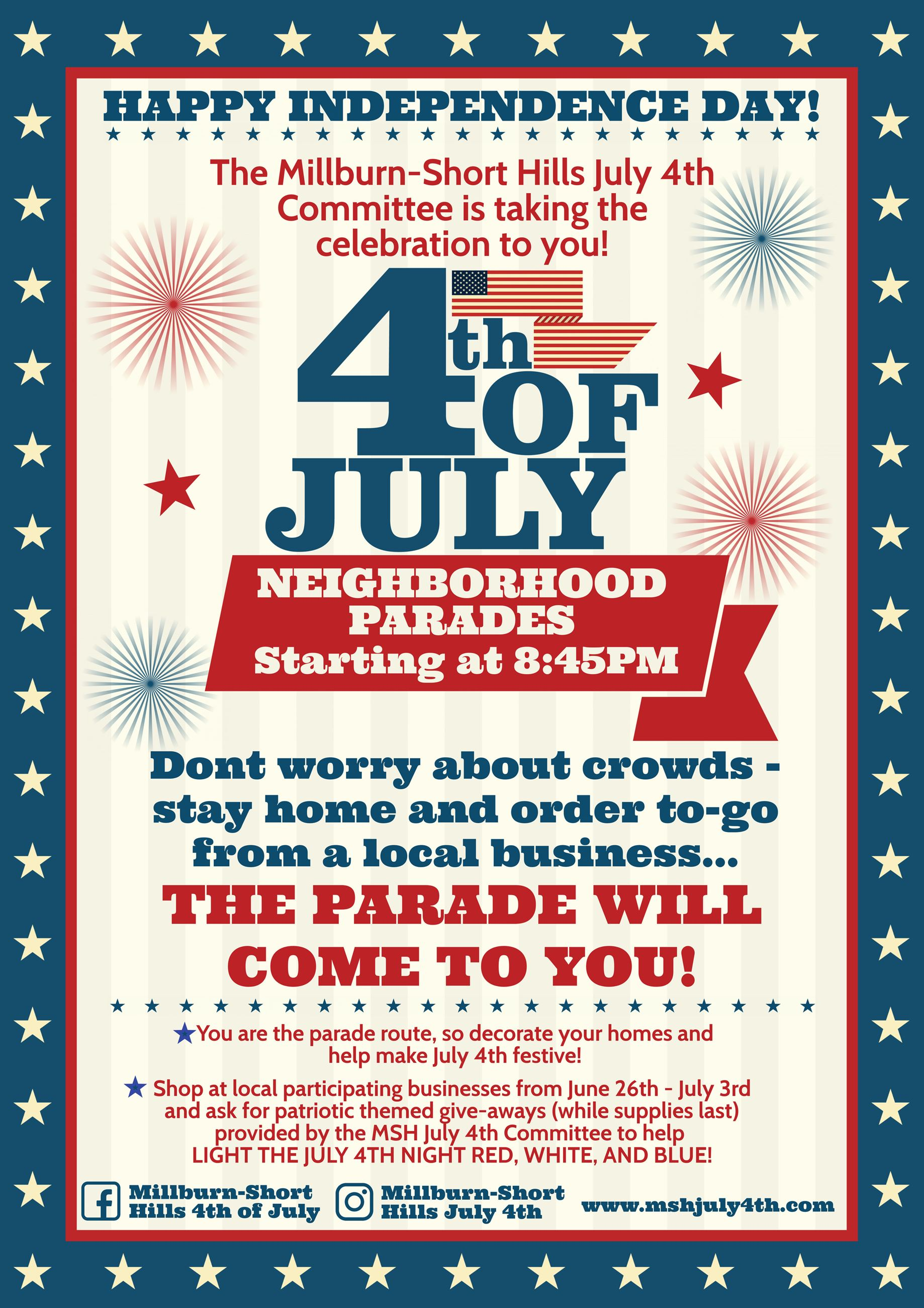 Millburn-Short Hills 4th of July 2020 Poster Opens in new window