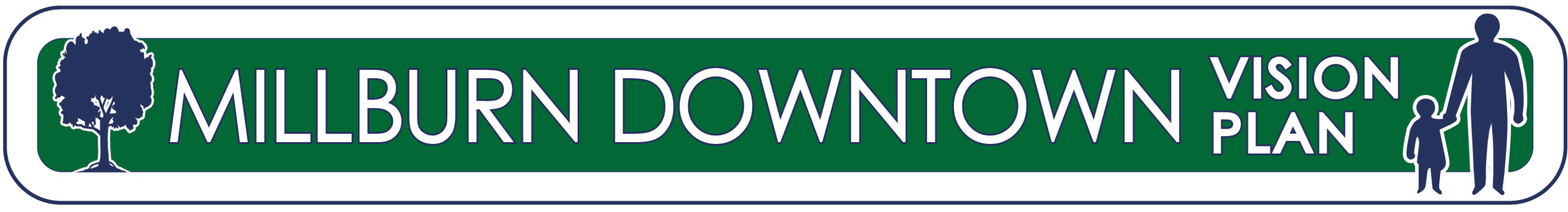 Logo: Green background with white text that reads Millburn Downtown Vision Plan