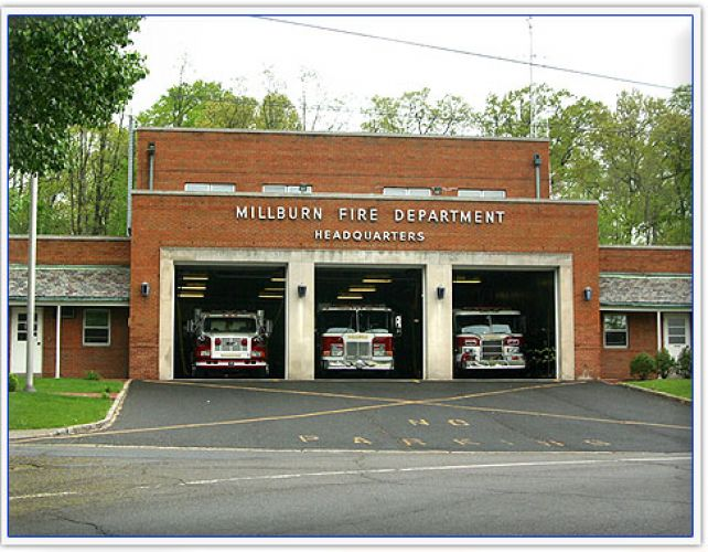 Fire engines docked in the Millburn Fire Departmen